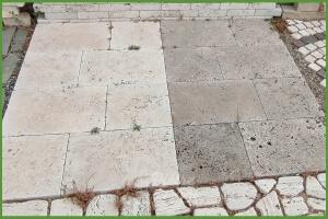 Pavimento e Coprimuro in Travertino Anticato
