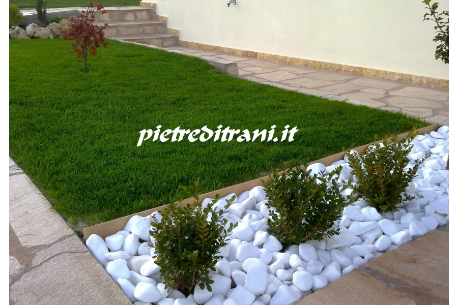 Ciottoli bianco assoluto buste 25 kg michele cioffi for Pietre da giardino