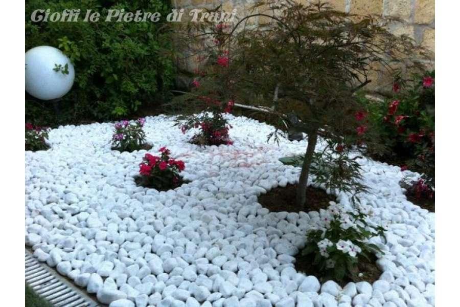 Ciottoli bianco carrara buste da kg 25 michele cioffi for Sassi piatti per giardino