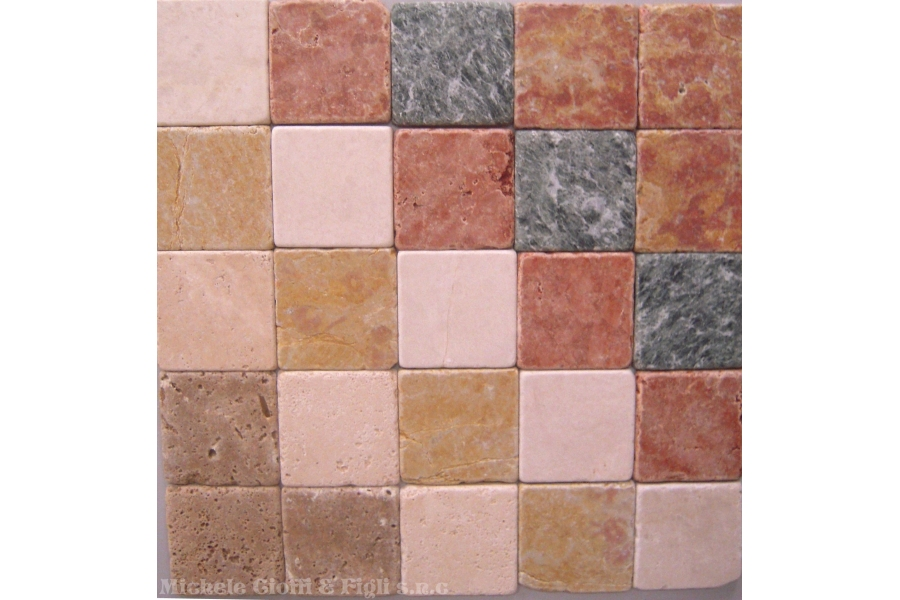 Rete mosaico travertino piastrelle mosaico quadrato mix tumbled
